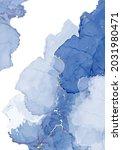 classic blue watercolor fluid... | Shutterstock .eps vector #2031980471