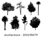 set of tree silhouettes. | Shutterstock .eps vector #203198479