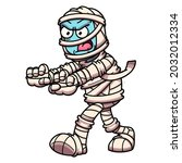 scary angry walking cartoon... | Shutterstock .eps vector #2032012334