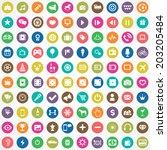 100 entertainment icons | Shutterstock .eps vector #203205484