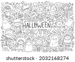 trick or treat coloring page.... | Shutterstock .eps vector #2032168274