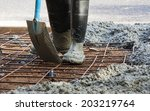 person with gum boots spreading ...   Shutterstock . vector #203219764