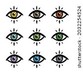 colorful mystical  magical eyes ...   Shutterstock .eps vector #2032254524