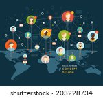 social network vector concept.... | Shutterstock .eps vector #203228734