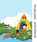 camping and fishing b | Shutterstock .eps vector #203228761