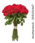 Stock photo colorful flower bouquet from red roses isolated on white background closeup 203231467