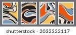 set of trendy retro 1970s style ... | Shutterstock .eps vector #2032322117