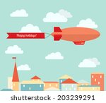 airship in the cloudy sky ... | Shutterstock .eps vector #203239291