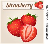 three strawberries. detailed... | Shutterstock .eps vector #203239789