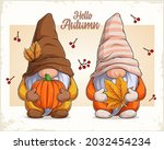 hand drawn cute gnomes in... | Shutterstock .eps vector #2032454234