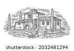 rural landscape with villa or...   Shutterstock .eps vector #2032481294