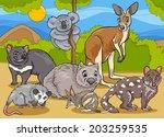Cartoon Illustrations of Funny Marsupials Mammals Animals Mascot Characters Group - stock vector