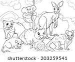 Black and White Cartoon Illustrations of Funny Marsupials Mammals Animals Mascot Characters Group for Coloring Book