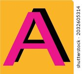 letter a in flat design with...
