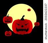 halloween vector  scary pumkins ... | Shutterstock .eps vector #2032622237