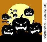 happy halloween. vector... | Shutterstock .eps vector #2032653731