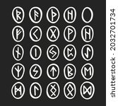 scandinavian magic runes....   Shutterstock .eps vector #2032701734
