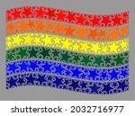 mosaic waving lgbt flag... | Shutterstock .eps vector #2032716977
