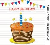 vector happy birthday cake | Shutterstock .eps vector #203274859