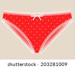 sexual woman red lace lingerie. ... | Shutterstock .eps vector #203281009
