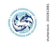 vector fishing logo with salmon ... | Shutterstock .eps vector #2032812881
