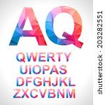 modern alphabet with triangle...