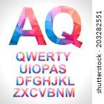modern alphabet with triangle... | Shutterstock . vector #203282551