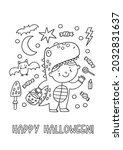halloween coloring page for... | Shutterstock .eps vector #2032831637
