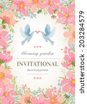 wedding invitation card with... | Shutterstock .eps vector #203284579