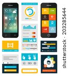 set of flat mobile elements ... | Shutterstock .eps vector #203285644