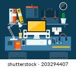 flat modern design vector... | Shutterstock .eps vector #203294407