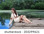 woman in traditional russian ... | Shutterstock . vector #203299621