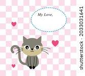 cute kitten cat love greeting...   Shutterstock .eps vector #2033031641