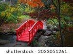Red bridge in Japanese garden at Bloomfield hills in Michigan.