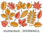vector set of autumn leaves ... | Shutterstock .eps vector #2033064611