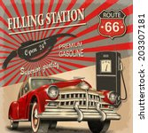 filling station retro poster | Shutterstock .eps vector #203307181