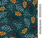 vector floral seamless pattern... | Shutterstock .eps vector #203310421