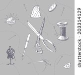 set of sewing accessories... | Shutterstock .eps vector #203314129
