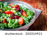 kale and edamame salad on... | Shutterstock . vector #203314921