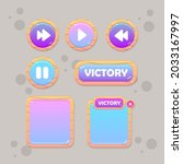game ui set of buttons  beige...