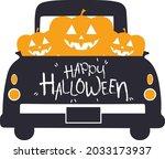 happy halloween truck svg...   Shutterstock .eps vector #2033173937