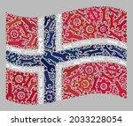 mosaic waving norway flag... | Shutterstock .eps vector #2033228054