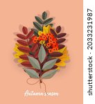 bouquet of colored autumn...   Shutterstock .eps vector #2033231987