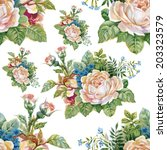 floral colorful roses flowers... | Shutterstock .eps vector #203323579