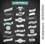 vintage retro ribbons and label ... | Shutterstock . vector #203324041