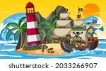 Ocean with Pirate ship at sunset scene in cartoon style illustration