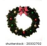 wreath decorated with bow and... | Shutterstock . vector #20332702