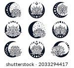 half moon and lotus flower...   Shutterstock .eps vector #2033294417