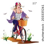 young woman riding bicycle by... | Shutterstock .eps vector #203335261