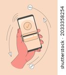 mobile pay. paying by credit... | Shutterstock .eps vector #2033358254